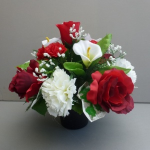 Pot for memorial vase with artificial roses, carnations & calla lilies