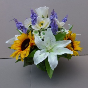 Pot for memorial vase with artificial sunflowers, lilies &  poppies