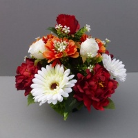 Pot for memorial vase with artificial gerberas & roses