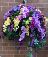 Hanging Basket with lilac and yellow wisterias
