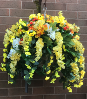 Hanging Baskets With Artificial Yellow Morning Glory - L12