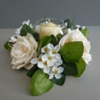 Candle ring with artificial ivory roses & blossom