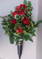 Christmas spike vase with red roses & mistletoes