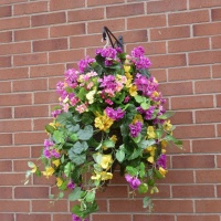 Hanging basket with Artificial Petunia & Geranium