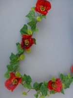 Garland artificial mini with red poppies