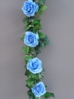 Garland with light blue silk roses