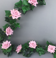 Garland with vintage pink diamond roses