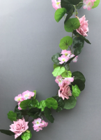Garland with geranium and vintage pink roses