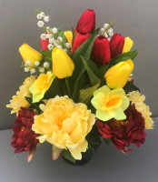 Cemetery pot with red & yellow tulips