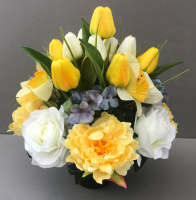Cemetery pot with white and yellow tulips