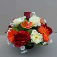 Artificial Flower pot with red cream roses and orange gerberas
