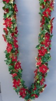 Christmas artificial Ivy Chainlink Garland With Poinsettias