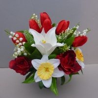 Pot for memorial vase with artificial white daffodils and white lilies