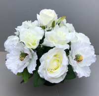Pot for memorial vase with artificial white poppies & roses