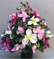 Artificial flower arrangement with orchids