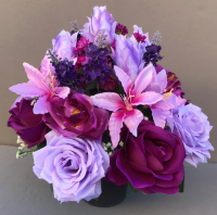 Pot for memorial vase with artificial purple  and lilac roses