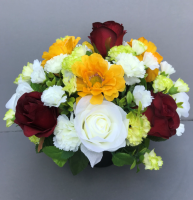 Cemetery pot with white & green carnations