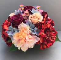 Artificial Flower grave pot with red hydrangeas peonies