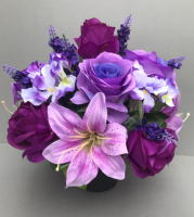Pot for memorial vase with purple roses lilies hydrangeas levandas