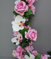 Luxurious Garland with pink roses and orchids