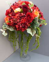 Autumn Red Wedding Martini Vase Centerpiece