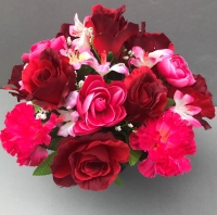 Artificial Flower pot with pink carnations red roses