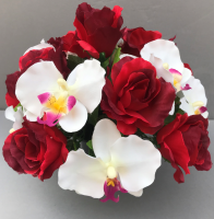 Pot for memorial vase with artificial red roses and white orchids