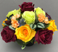 Artificial Flower pot with burgundy yellow/green roses