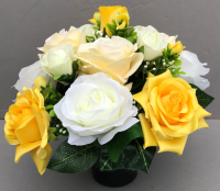 Pot for memorial vase with artificial white and yellow roses