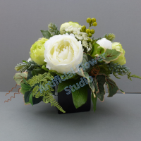 Centerpiece for wedding table with artificial ivory roses & green peonies