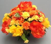 Cemetery pot with yellow & orange carnations