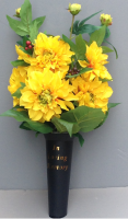 Spike vase with yellow dahlia