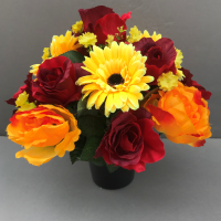 Cemetery pot  In Grave/Memorial Vase Red roses Orange peonies